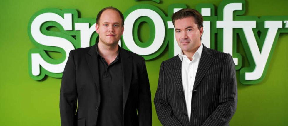 HENTER PENGER FRA PLATEBRANSJEN: Daniel Ek og Martin Lorentzon i Spotify henter frisk kapital, blant annet fra rettighetshaverne i musikkindustrien. Foto: SPOTIFY