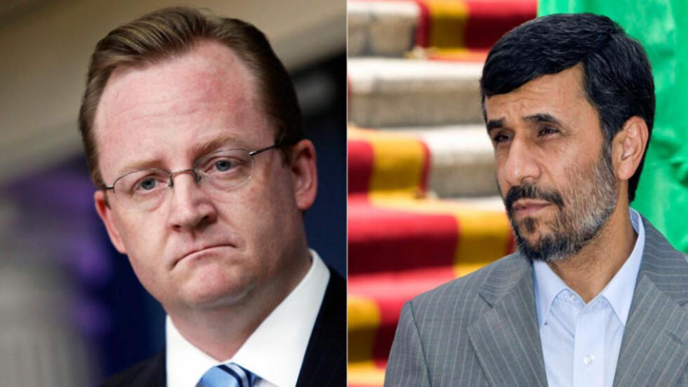VALGTE LEDER? Robert Gibbs (t.v.) omtalte tirsdag Mahmoud Ahmadinejad som Irans valgte leder. Det angret han på, og omformulerer seg i dag. Foto: Scanpix