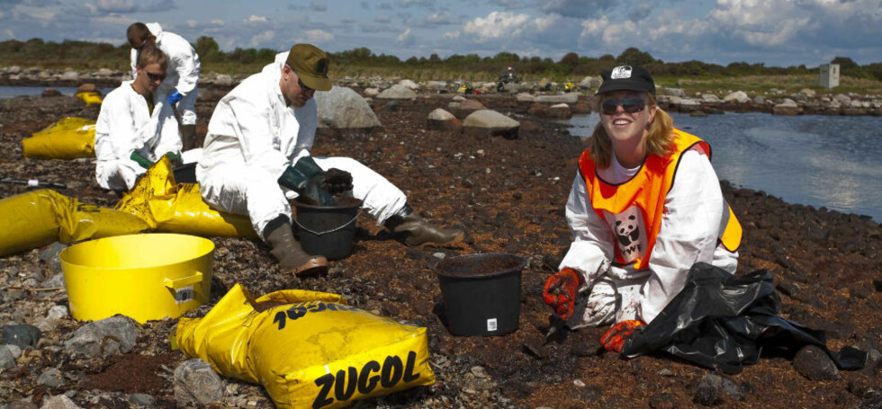 MØYSOMMELIG ARBEID: WWF-rådgiver Maren Esmark og HV-soldatene skal de neste dagene skrubbe stein rene for olje på Stråholmen. Foto: PER FLÅTHE