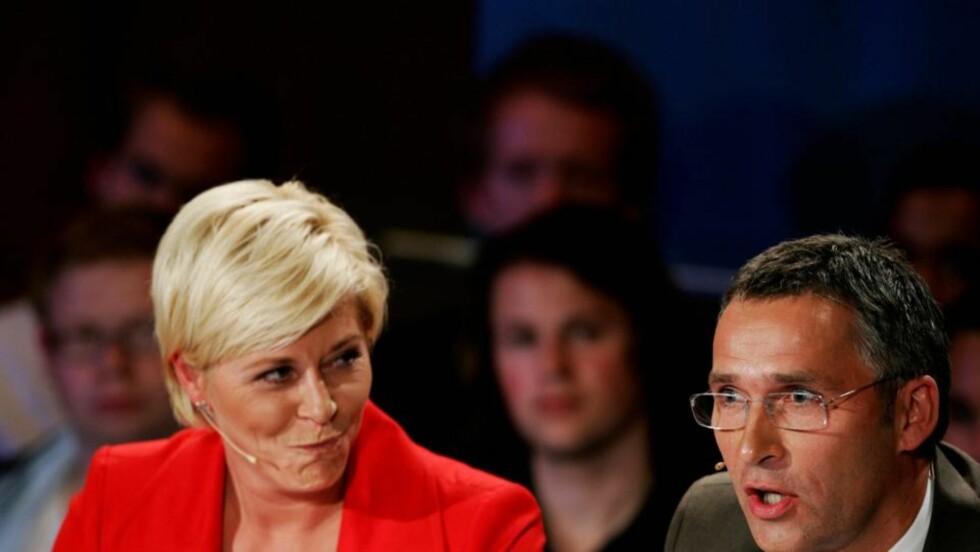 HVEM ER BEST? Siv Jensen og Jens Stoltenberg møtes til statsminister-duell i kveld. Men hvem av dem klarer seg best? Foto: Kyrre Lien/Scanpix