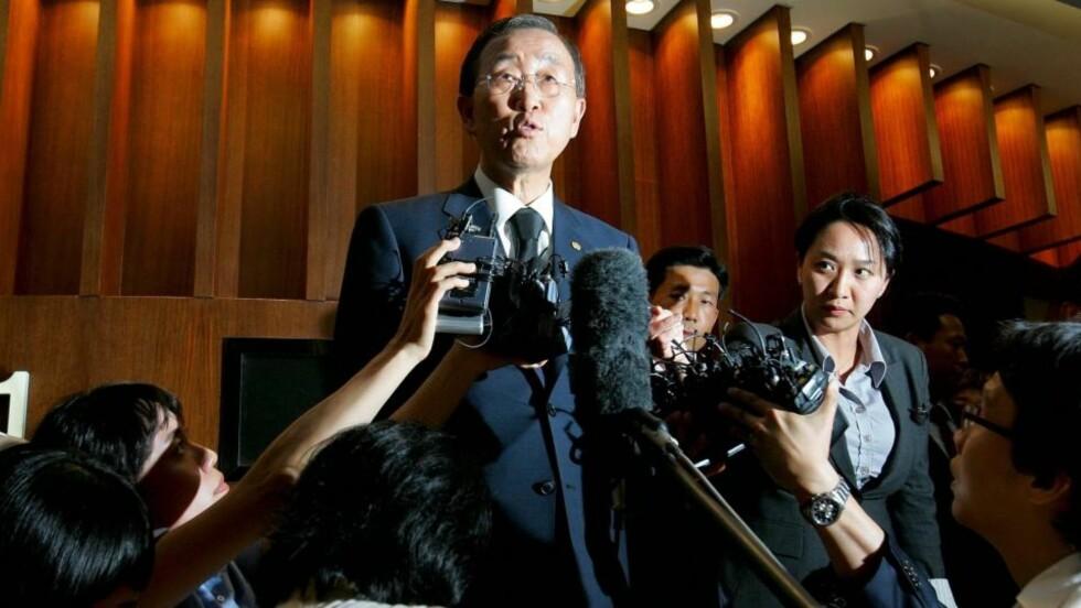 - STADIGE RASERIUTBRUDD: Det er en av karakteristikkene til den norske FN-ambassadøren Mona Juul om FN-sjefen Ban Ki-Moon. Foto:  EPA/SCANPIX