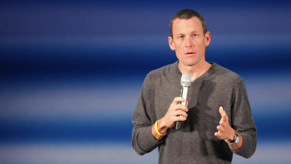 ETTERTRAKTET FOREDRAG: Lance Armstrong holdt i formiddag et foredrag i Folketeateret i Oslo, hvor han fortalte om veien tilbake fra kreften. Foto: Stian Lysberg Solum / SCANPIX