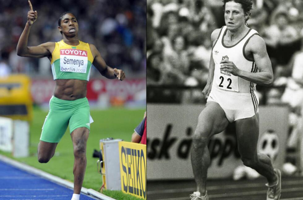 26 ÅR GAMMEL REKORD: Caster Semenya (til venstre) vant kvinnenes 800 meter-finale suverent i går. Men hun er fortsatt 2,17 sekunder unna verdensrekorden som Jarmila Kratochvilova fra Tsjekkoslovakia satte i 1983.Foto: Olivier Morin, AFP/Scanpix og Geir Bølstad/Dagbladet