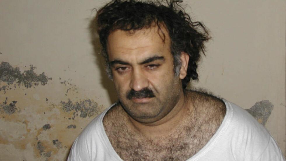 HJERNEN BAK 11. SEPTEMBER-ANGREPET:  Khalid Sheikh Mohammed ble tatt til fange 1. mars 2003, og ble avhørt på hemmelig sted.  Foto: SCANPIX/AP