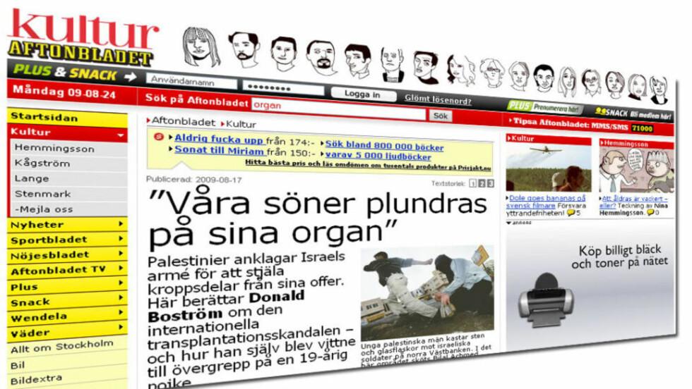 SAKEN SOM SKAPTE STRID: Donald Boström skrev om hendelser fra begynnelsen av 1990-tallet, da et 50-talls palestinske foreldre opplevde at barna deres ble drept. De kom tilbake med store arr fra halsen ned til magen. Faksimile: Aftonbladet.se