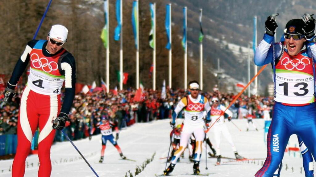 SLO ESTIL PÅ MÅLSTREKEN: Jevgenij Dementjev slo Frode Estil på målstreken under tremila i Torino-OL i 2006. Denne uka ble han dopingavslørt. Foto: REUTERS