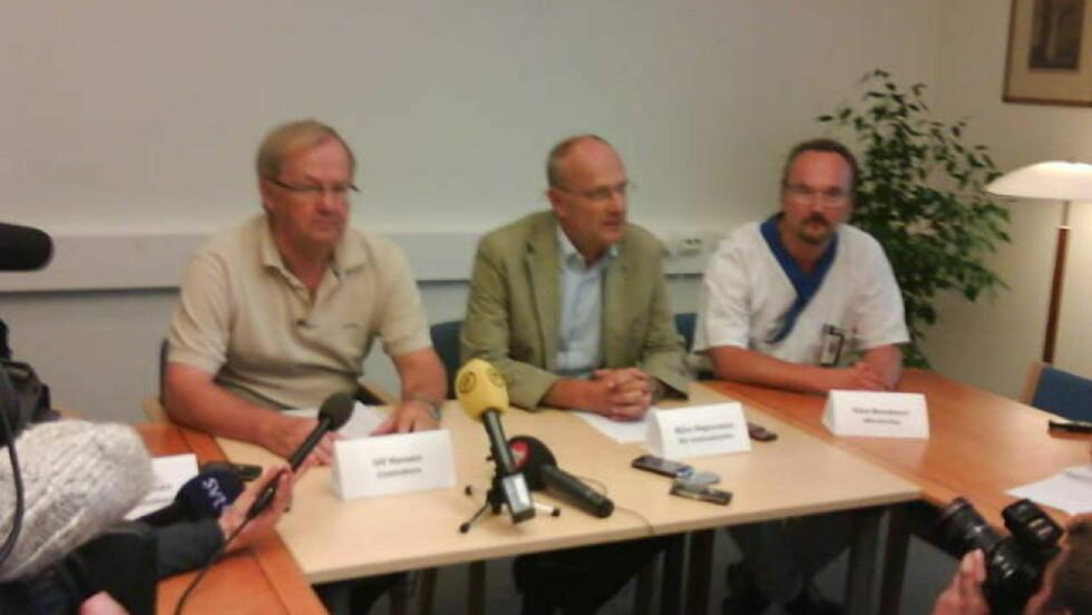 SVINEINFLUENSA:  De første prøveresultatene som ble lagt fram på Akademiska sykehuset i Uppsale i dag tyder på at Sverige har fått sitt første dødsoffer for svineinfluensa. MMS-foto: Roger Schederin/Expressen