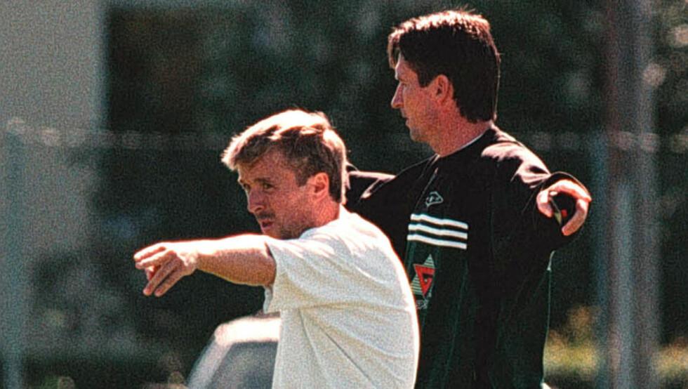 PÅ VILLE VEIER: Trond Sollied forstår ikke hva Mini mener med kritikken mot ham. Her er de to i dagene som Rosenborg-ansatte. Foto: Gorm Kallestad/SCANPIX