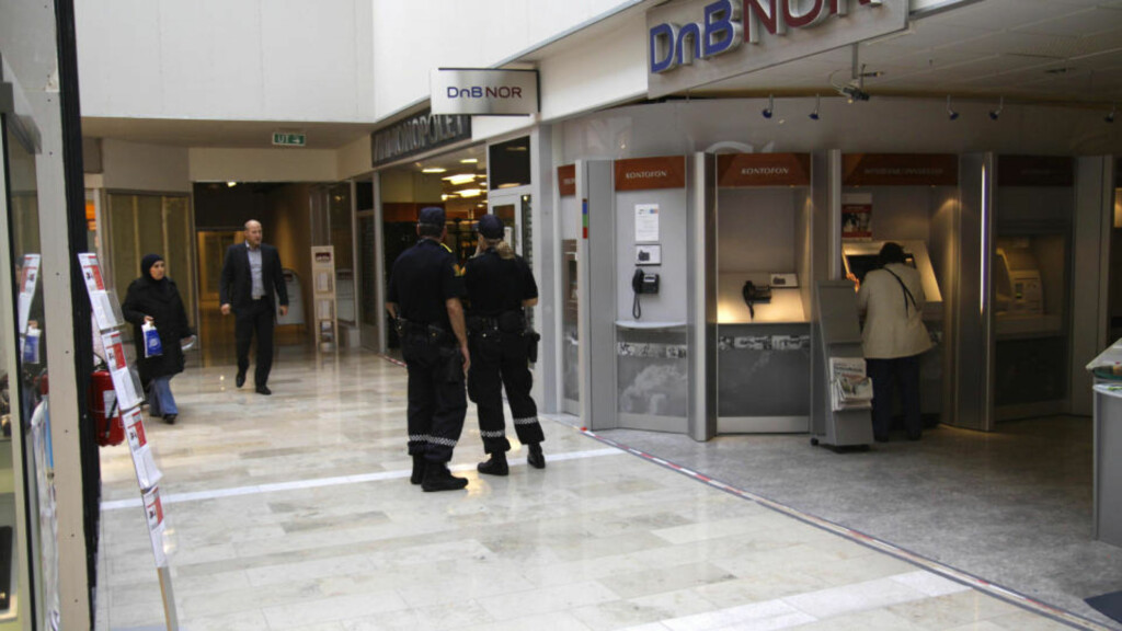RANSFORSØK:  DnB Nors kunderådgivningssenter på Linderud senter i Oslo ble forsøkt ranet i ettermiddag. Foto: Espen Hovde
