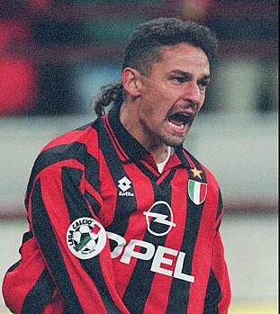 <strong>1996:</strong> Baggio i kamp for AC Milan. Foto: AP Photo/Carlo Fumagalli