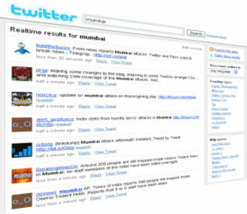 ÅRETS FENOMEN: Under terrorangrepene i Mumbai var Twitter den mest oppdaterte kilden til informasjon.