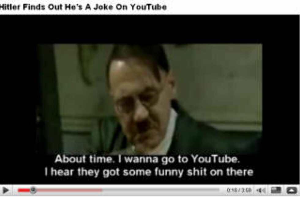 ÅRETS MASHUP: Hitler i «Der Untergang» på YouTube, med alternativ teksting. Faksimile: YOUTUBE