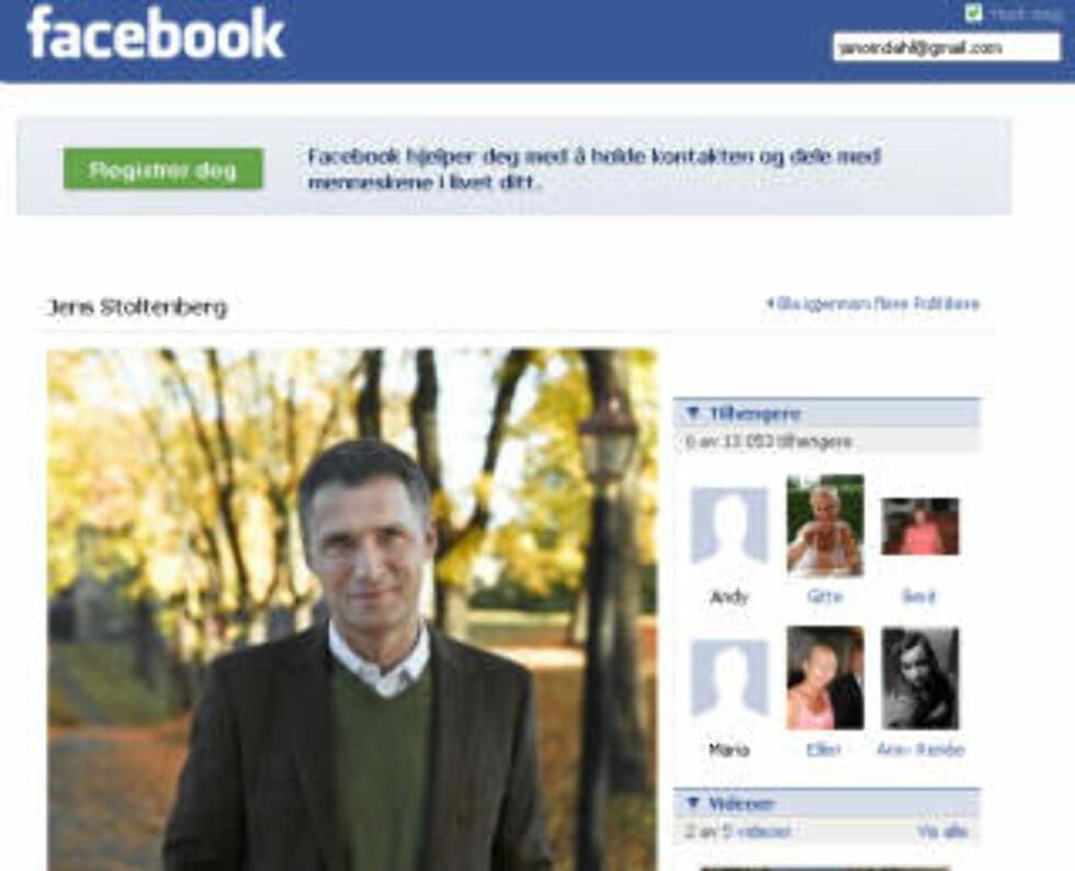 ÅRETS FACEBOOKPROFIL: Statsministeren oppdaterer sin egen Facebook-profil. Faksimile: FACEBOOK