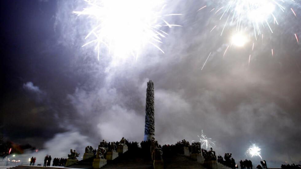 VAKKERT: Fyrverkeri over Vigelandsparken nyttårsaften 2009. Mange hadde møtt opp for å få med seg fellesoppskytningen av raketter. Foto: Stian Lysberg Solum / SCANPIX