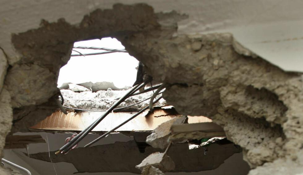 <strong>INGEN SKADD:</strong> Dette bildet er fra en skole i byen Beersheba i Israel, som i går ble truffet av en palestinsk rakett. Ingen kom til skade i angrepet. FOTO: REUTERS/Gil Cohen Magen (ISRAEL)/SCANPIX