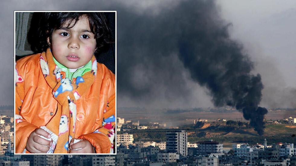 TRAUMATISK START: Marah Zaydyeh (2) forstår lite av hva som nå skjer i Gaza, men hører hva de voksne snakker om.  Foto: HAMADA HAMADA og SCANPIX.