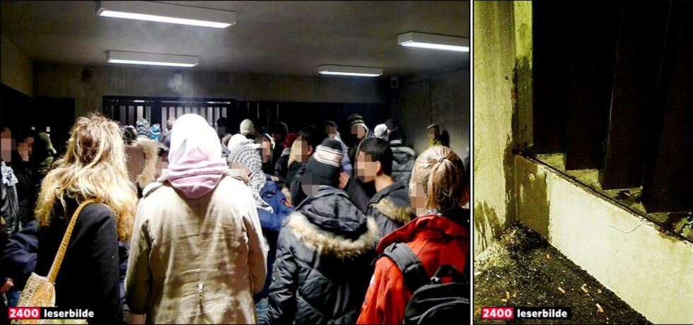VENTET OVER FEM TIMER: Over 120 mennesker ble innbrakt og samlet i en garasje på politihuset på Grønland i Oslo etter demonstrasjonene lørdag kveld. Flere mener politet ikke var klare nok i beskjedene om å fjerne seg fra området ved opptøyene og derfor fikk med mange uskyldige. I tillegg forsvant mange av de mest standhaftige steinkasterne og rakettskyterne over taket på politibilene og ut i Slottsparkens mørke. Flere ble sett i sentrum mens de knuste butikkruter. Foto: Privat.