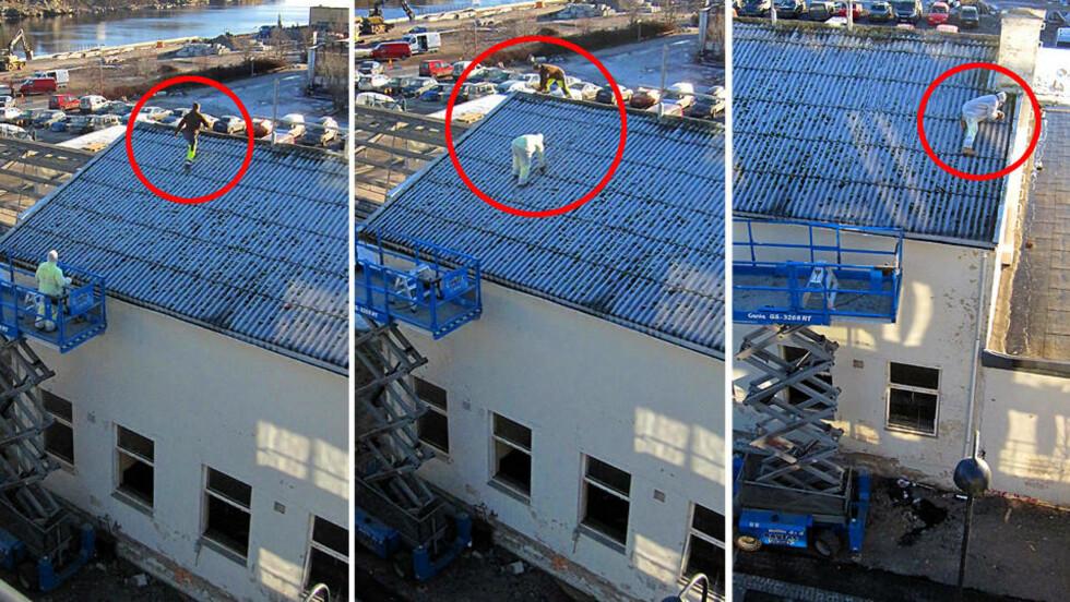 LIVSFARLIG: Helt uten noen form for sikring, ligger sønnen til eieren av rivefirmaet på knærne på det såpeglatte taket og strever med å løsne en skrue. Han er i livsfare og ville ha deiset rett i bakken 10-12 meter under dersom han hadde mistet fotfestet. Den glatte plastdrakta hadde gitt ham ekstra fart nedover taket. Foto: Eivind Pedersen