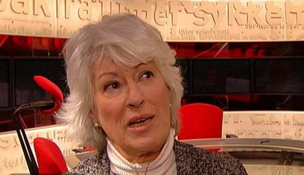 STERKE ORD: Mona Levin brukte sterke ord mot Kåre Willoch etter debatten i Tabloid på TV2. FOTO: TV2