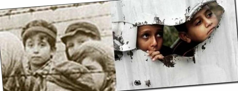 SENDTE BILDER DRA UD-ADRESSE: En ansatt ved ambassaden i Riyadh har brukt sin jobbadresse til å videresende bilder som sidestiller krigen på Gaza og konfliktene mellom jøder og palestinere med andre verdenskrig om jødeutryddelsene. Foto: Skjermdump