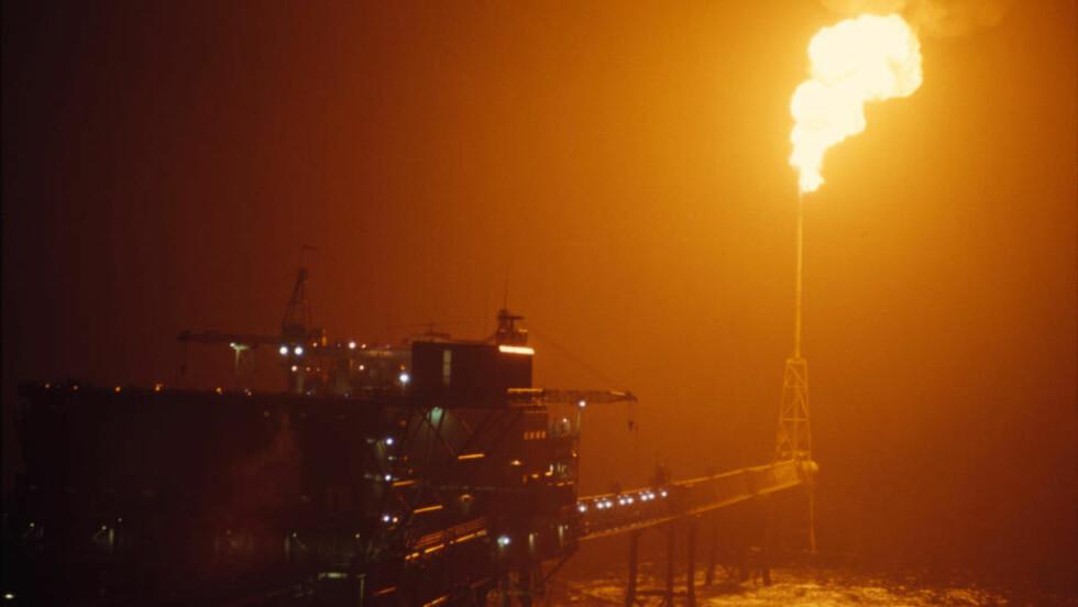 MANGE SKADDE: Nattbilde av Ekofisk-senteret 23. september 1974. Hundrevis av tidligere oljearbeidere er blitt syke etter kjemisk eksponering. Foto: Svein Hammerstad  / NTB / Scanpix