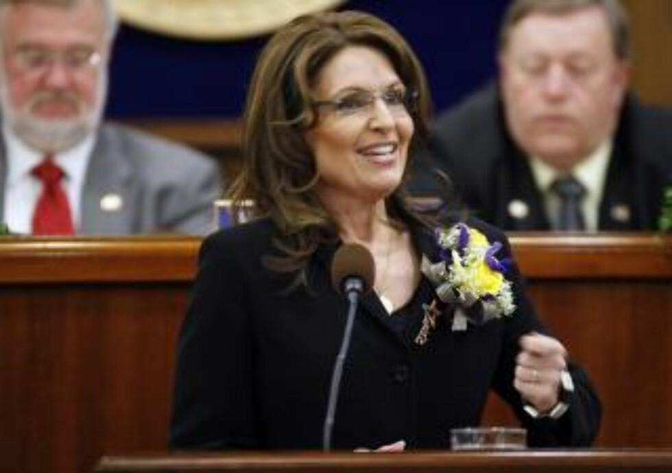 TROR NOK IKKE EVOLSJONEN: I USA er det større aksept for å ikke tro på evolsjonen, og kreasjonister som Sarah Palin er det mange av. Foto: AP Photo/Al Grillo/Scanpix
