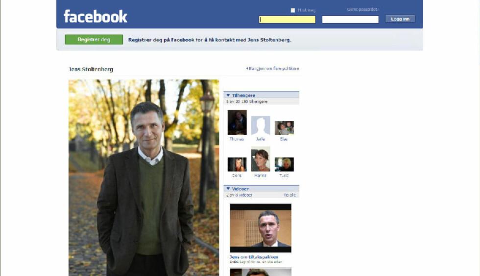 VIL HA FLERE VENNER: Jens Stoltenberg reklamerer ivrig for sin egen facebook-profil - på Arbeiderpartiets hjemmesider.