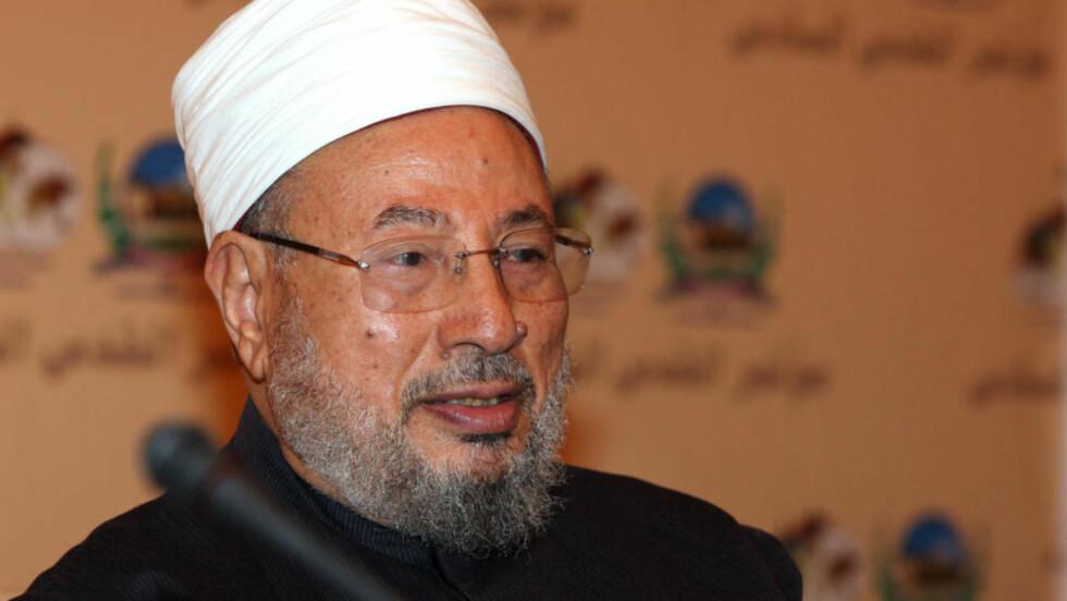 <strong>HYLLER HOLOCAUST:</strong> Yusuf al-Qaradawi med kontroversielt utspill. Foto: Karim Jaafar/AFP/Scanpix