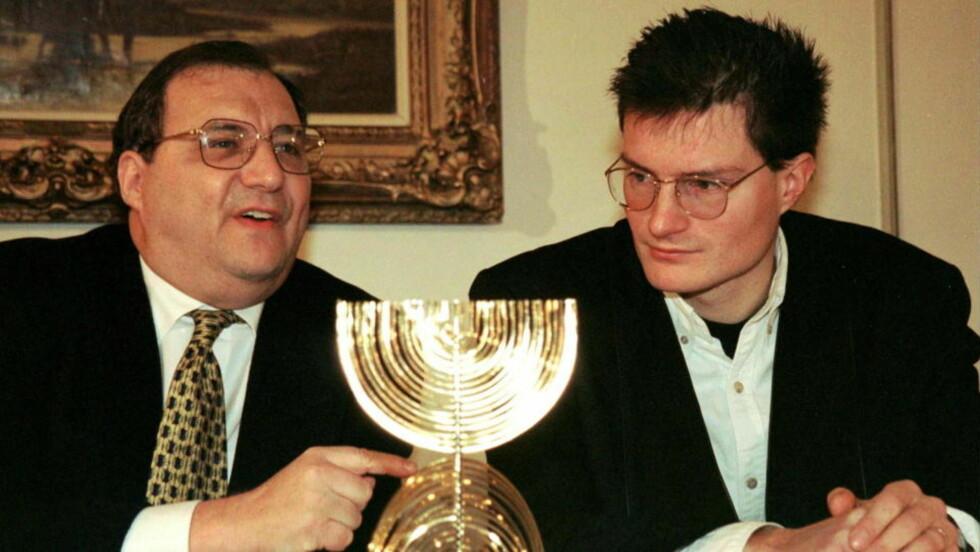 BEKYMRET: Abraham Foxman (til venstre), her fotografert sammen med Christoph Meili, er bekymret for den økende antisemittismen. Foto: Andy Mueller/REUTERS/Scanpix