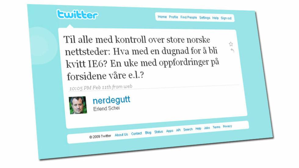 <strong>BEGYNNELSEN:</strong> En Twittermelding fra en medarbeider i Finn.no satte i gang den norske kampanjen mot Microsofts tilårskomne nettleser.