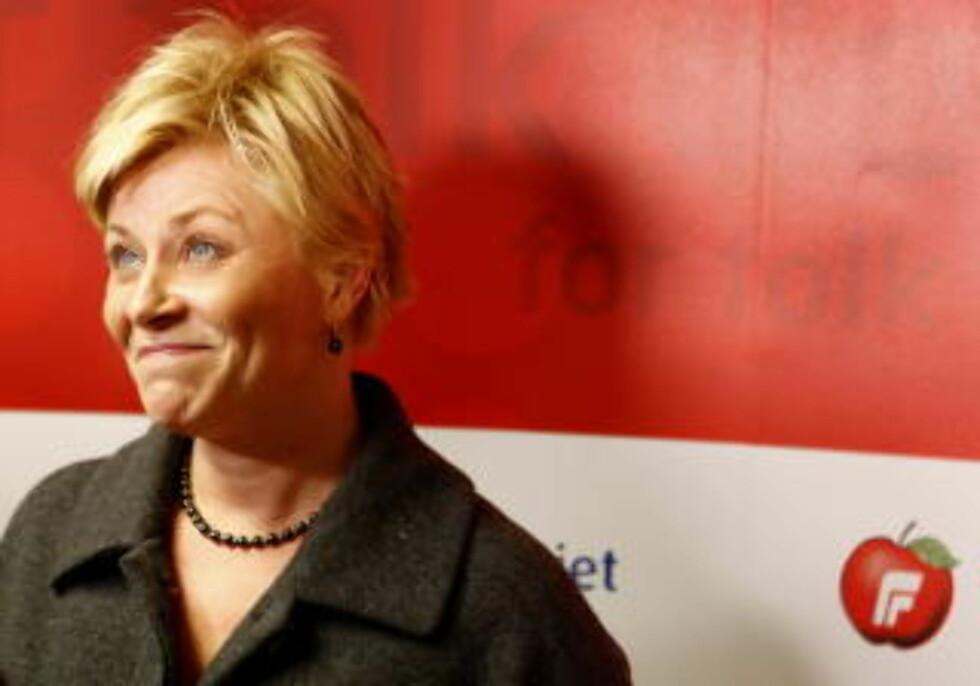 HØSTET STORM: Formann i Fremskrittspartiet, Siv Jensen, har høstet storm for landsstyretalen hun holdt lørdag. Foto: Knut Falch / SCANPIX