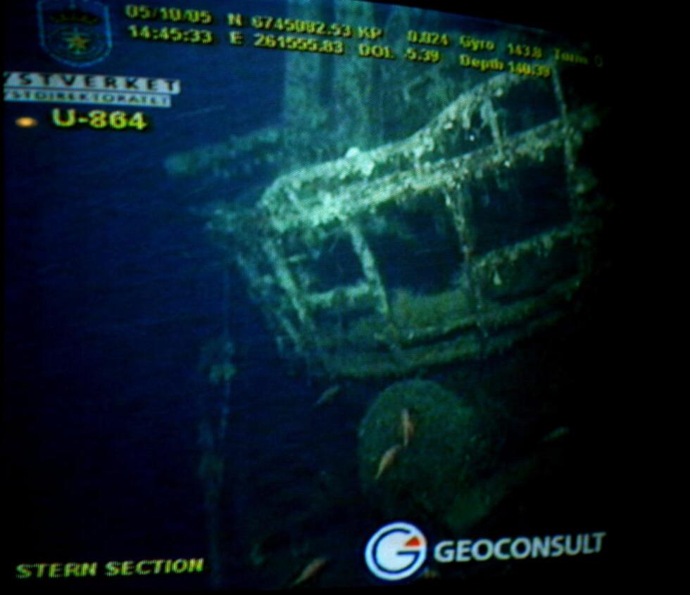SENKET I '45: Tyske 8-864 har ligget på havbunnen i over 60 år, hvor den har lekket store mengder miljøfarlig kvikksølv. Foto: Kystverket / SCANPIX