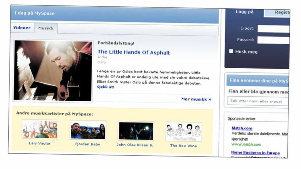 NORSKE MYSPACE BLIR BORTE: MySpace-organisasjonen skal krympes. Det kan være negativt for norske artister, frykter platebransjen. FOTO: FAKSIMILE