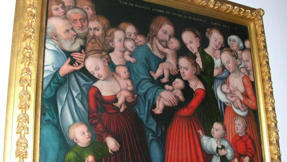 STJÅLET: Dette maleriet av Lucas Cranach den eldre, er stjålet fra Larvik kirke. Kunstekspert Gunnar Krogh-Hansen anslår verdien til å være mellom 15 og 20 millioner. (Foto: Larvik Kirke)