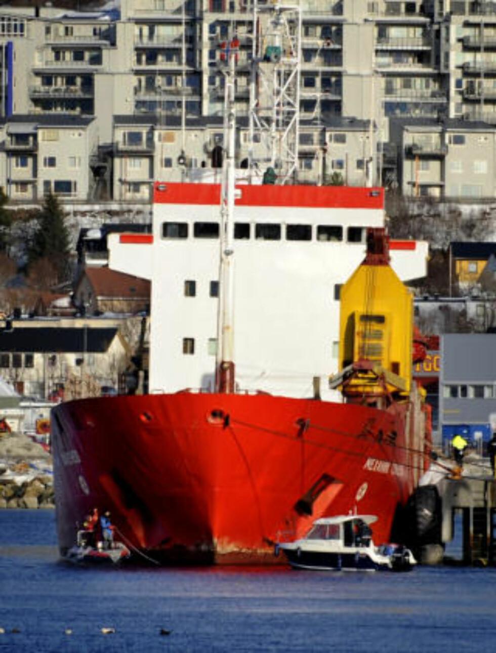 I BODØ: Lasteskipet ligger i arrest.  Foto: Erik Veigård / Scanpix