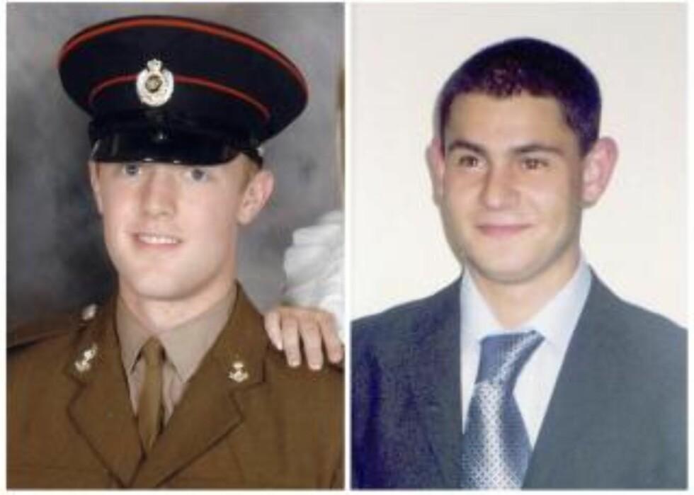 DREPT: De to soldatene Mark Quinsey og Cengiz Azimkar ble drept i helga. Foto: REUTERS/MOD/Scanpix