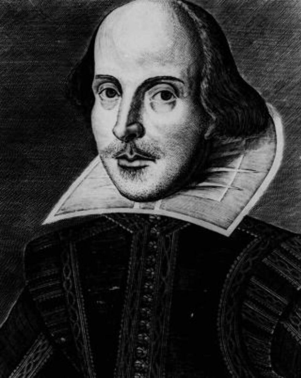 TIDLIGERE OPPFATNING: William Shakespeare slik han har blitt framstilt tidligere; tynnhåret, slitent blikk og sparsommelig kledd.Foto: SCANPIX/AP Photo