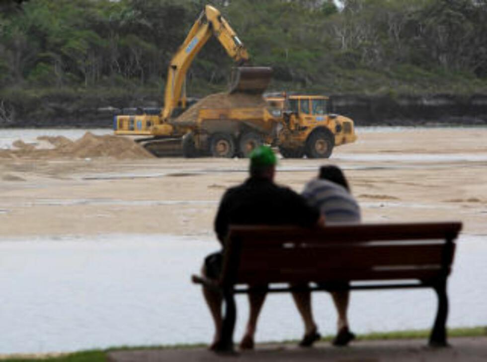 RYDDER OPP: Arbeiderne tok i bruk gravemaskiner for å frakte vekk den forurensede sanden i Coolum, Queensland i går. Foto: Scanpix
