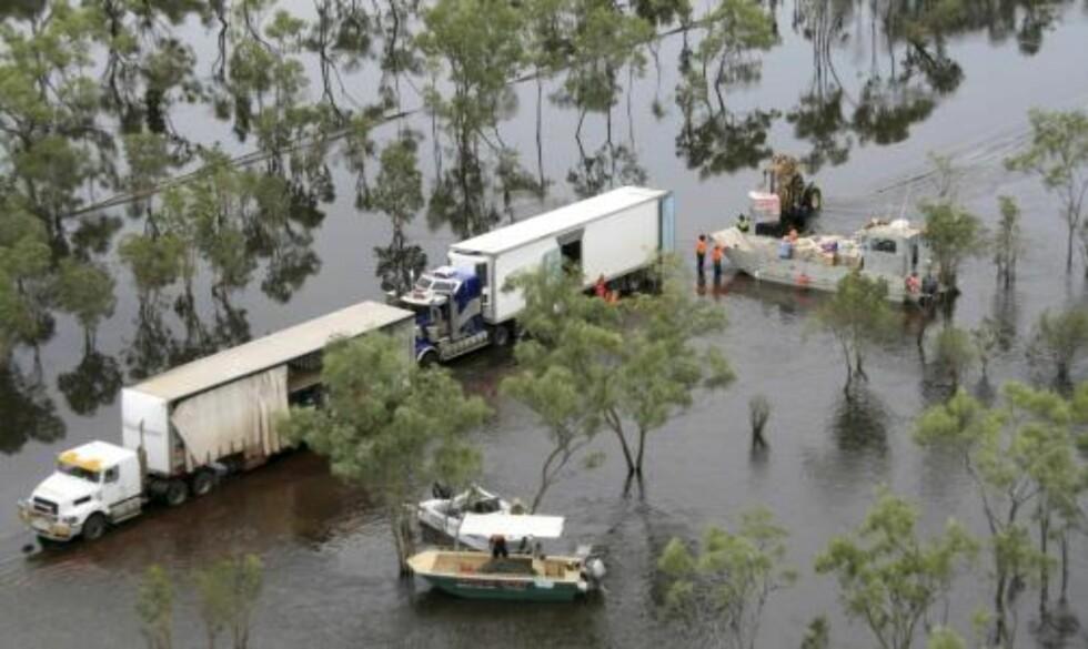 HAMISH: Syklonen Hamish har gått hardt til verks mot Queensland denen uka, og det er ikke bare båtene som fikk unngjelde. Dette bildet er fra landsbyen Normanton. Foto: Scanpix