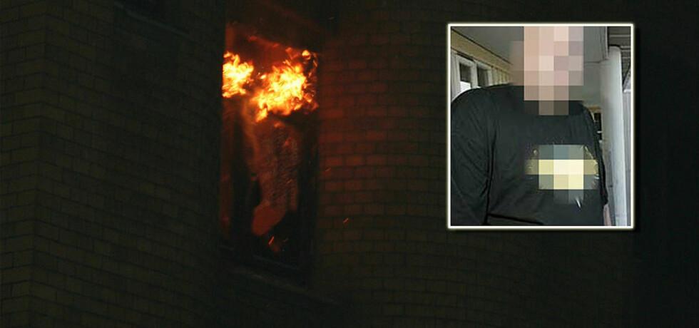 SENDTE EGET BILDE: Den siktede sendte blant annet dette bildet av brannen han er siktet for å ha startet til Dagbladet.no. Han nekter all befatning med brannene.  Innfelt: Den siktede.