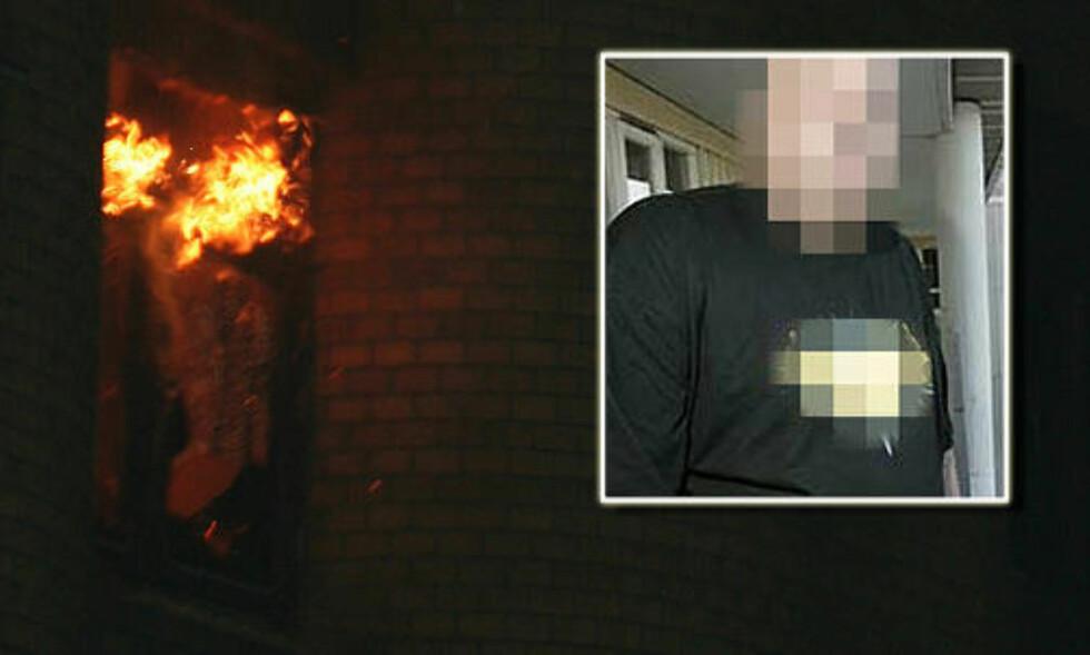 BILDET FRA BAKGÅRDEN: Dette bildet av brannen sendte 46-åringen (innfelt) til Dagbladet.no. under brannen.
