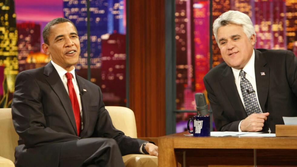 EPLEKJEKK: Nå får Barack Obama svi for bowlingflausa hos Jay Leno. Foto: Gerald Herbert/AP/Scanpix