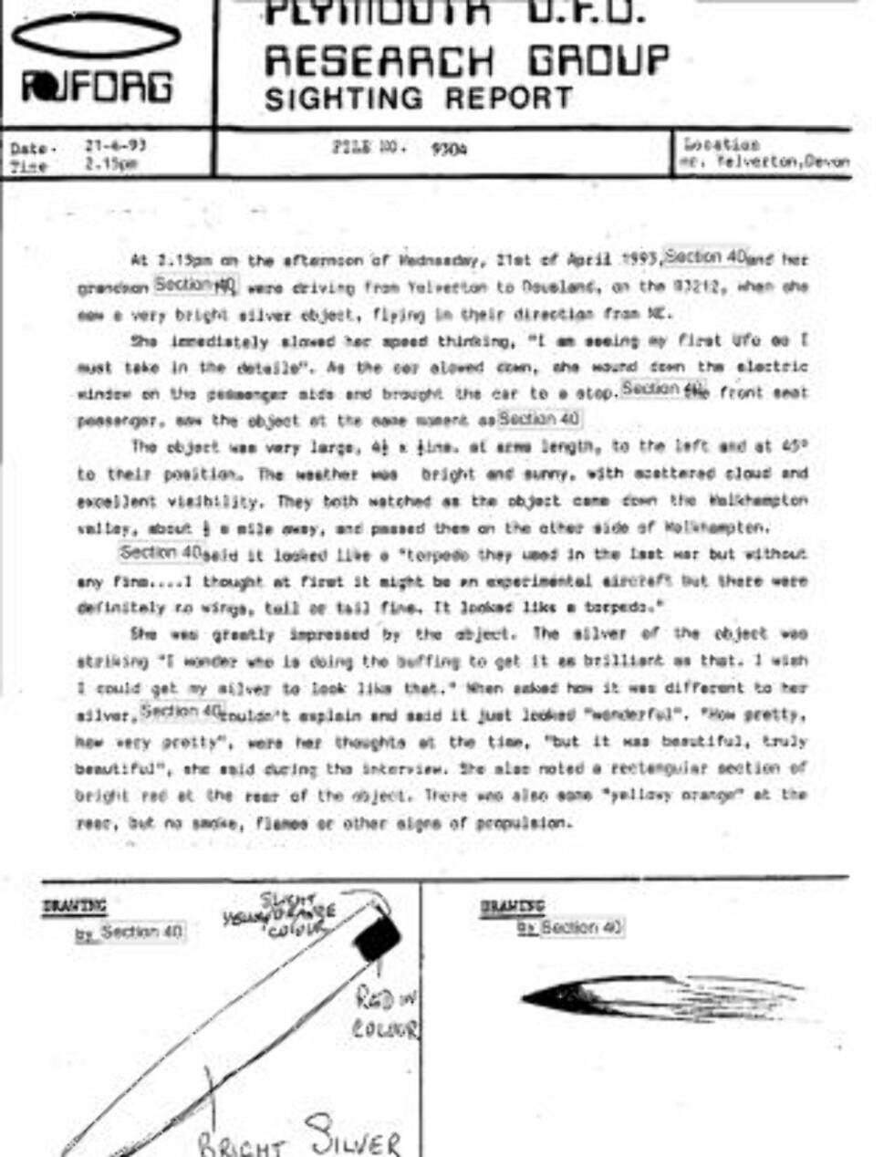 SKISSER: Flere av de frigitte dokumentene har skisser av UFOer vitner skal ha sett.