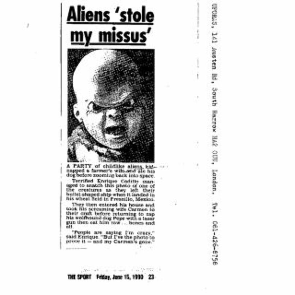 KIDNAPPING: Ikke alle rapporteringer av romvesen tas like alvorlig. Denne saken er likevel inkludert i de hemmeligstemplete dokumentene.
