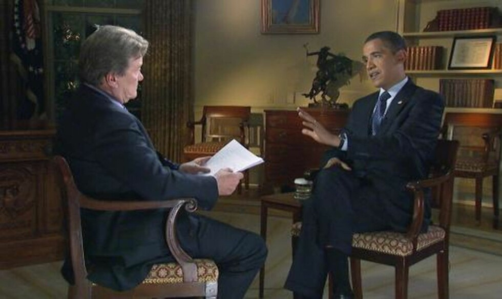 INTERVJUET: CBS-journalist Steve Kroft intervjuer president Barack Obama på programmet 60 Minutes. Foto: Scanpix