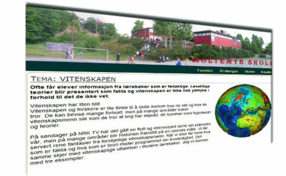 KONTROVERSIELLE UTSAGN: Artikkelen om vitenskap og evolusjonsteori har ligget ute på Moltemyr skoles hjemmesider siden desember. I ettermiddag ble den fjernet av skolens ledelse.