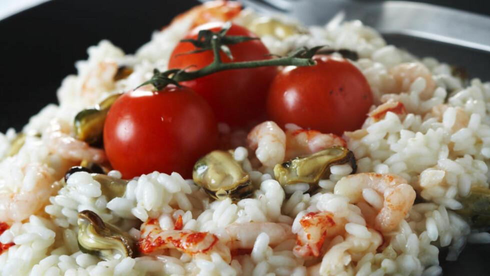 Risotto med skalldyr og tomater