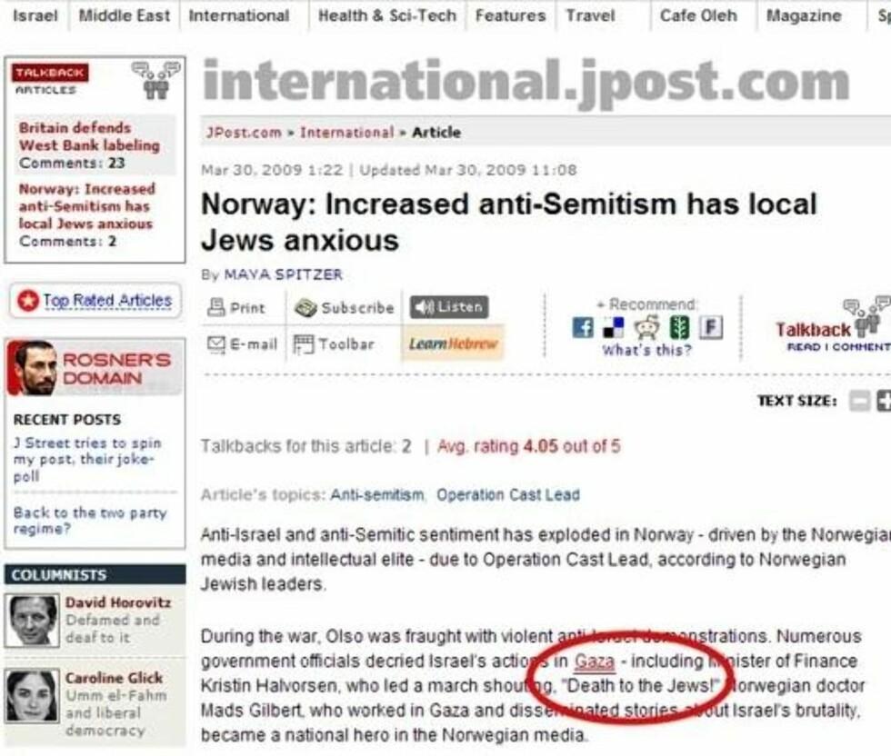 ALT ER SANT: Det som står i saken min er bekreftet fra mange kilder, sier journalisten Maya Spitzer i Jerusalem Post.
