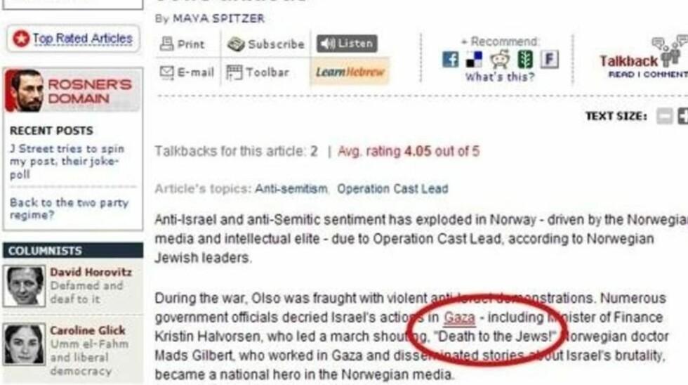 FJERNET: Artikkelen hvor finansminister Kristin Halvorsen blir beskyldt for å ha sagt «Død over jødene!» er nå fjernet fra nettsidene til Jerusalem Post. Faksimile: Jerusalem Post