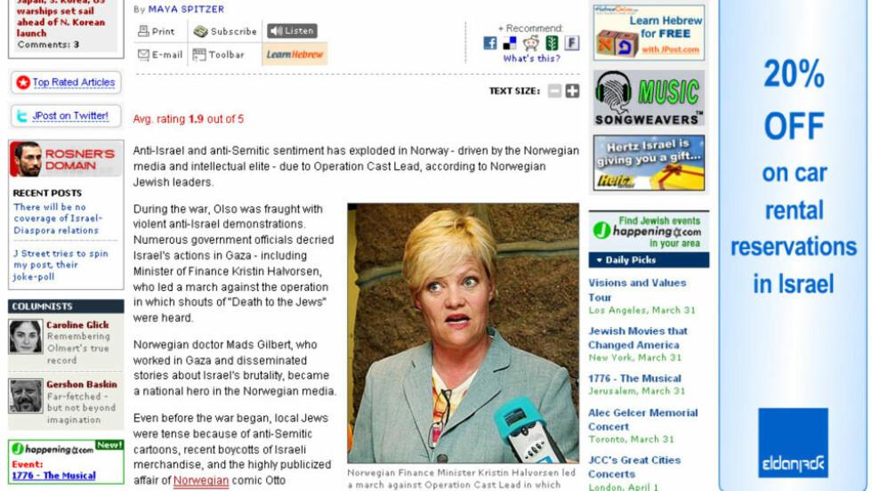 FORTSETTER KAMPANJE: Jerusalem Post skriver igjen at antisemittismen eksploderer i Norge.